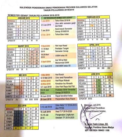 Kalender Pendidikan 2018 2019 Dinas Pendidikan Provinsi Sulawesi Selatan Mustafatope S Weblog